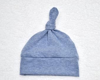 Light Denim Heather Solid Baby Knot Hat, Newborn Hat, Boy Hat, Cotton Knit, Baby Shower Gift