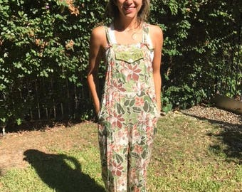 Autumn leaves and beads, Beaded rayon overalls, Small,S,Overalls,Coveralls,Romper,Jumper