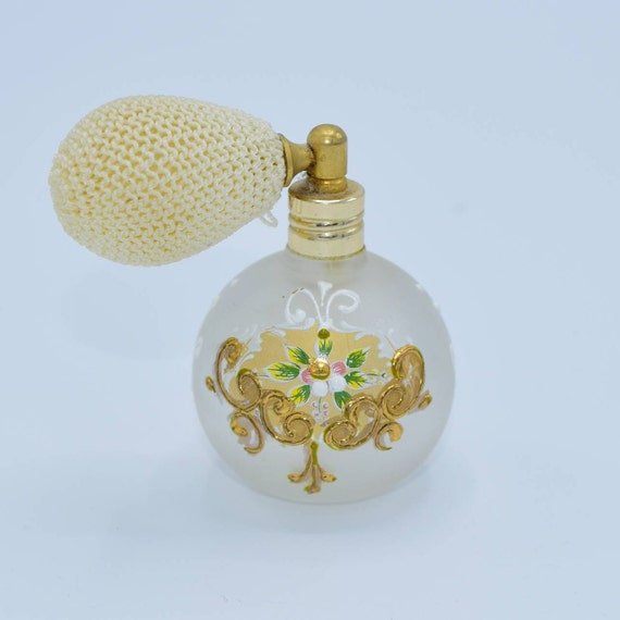 Perfume Atomizer Frosted Glass Bottle Vintage Gold Painted Perfume Bottle Dresser Vanity Decor Gifts for Her Movie TV Prop Staging