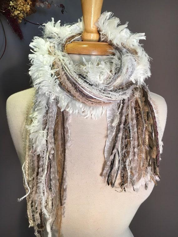 Fringe art scarf, yarn scarf, Handmade Boho Scarf, travel gift, fluffy scarf, ribbon scarf 'Cream and Sugar', bohemian, fur