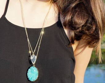 Gold or Silver Plated Aqua Druzy Necklace • Layering Necklace • Raw Crystal • Gift for Her • Bridesmaid Gift • Boho • Crystal Necklace