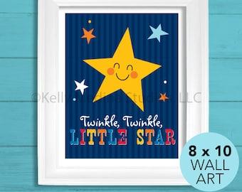 Twinkle Twinkle Little Star Nursery Art Print, 8 x 10, Baby Children Wall Art Decor, Little Star Wall Art by Kelly Medina