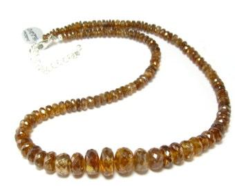 "Rare Zircon Hyacinth Necklace From Asutralia - 19"""