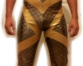 Golden hologram strong man circus costume