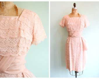 Vintage 1950's Blush Pink Tiered Lace Dress | Size Medium