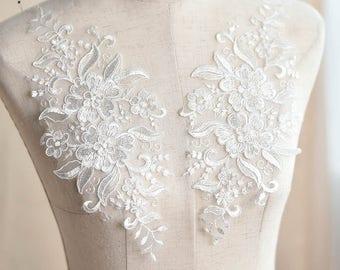 Lace Wedding Dress applique/Lace Applique/Lace Dress/Boho Wedding Dress/Prom Dress/Vintage Dress/Evening Dress/Bridal Applique pair/ALA-63