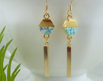 Color Collection. Gold and Mint Geometric Earrings. modern earrings. dangle earrings. stick earrings. gold earrings. dainty earrings.