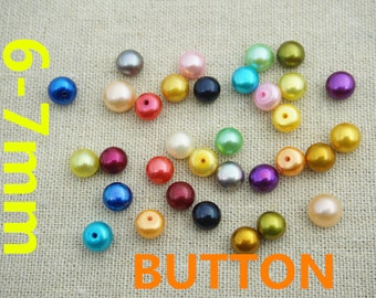 6-7mm loose button pearls, SELECT COLOR,matched pearl pairs,beads pearls,button earrings DIY material,half drilled pearls,BTN6-4A-2