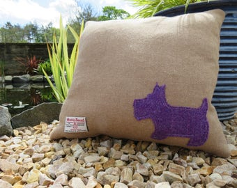 Scottish Westie cushion made out of Harris Tweed