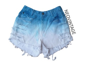 Oceanic Teal Turquoise Blue Ombre Dyed High Waisted Denim Frayed Festival Shorts