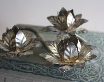 Vintage Metal Floral Tri Candleholder