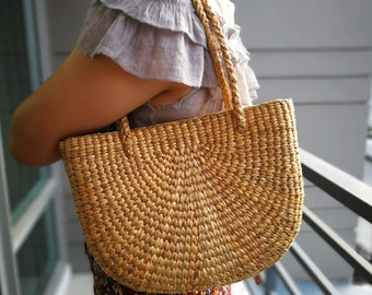 Natural Basket Handmade Straw bag  Water  Hyacinth Bag Woven Bag  Sea Grass Bag Beach Bag Hand Bag Shoulder Bag