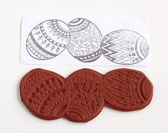 Easter Egg Large U/M Stamp Decorated Easter Eggs Unmounted Red Rubber Stamp Easter Scrapbooking Rubber Stamping Card Making