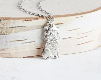 Silver Cat Necklace, Rhodium Plated Small Cat Pendant Necklace, Cat Lover Jewelry