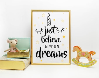 A4 or A3  Print, 'just believe in your dreams' - FREE POSTAGE