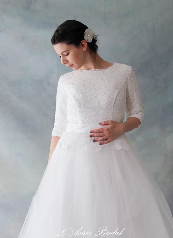 Spitze Langarm Hochzeitskleid mit atemberaubende Spitze voller