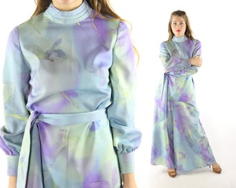 Vintage 70s Palazzo Pants Long Sleeve Blouse High Waisted Trousers Blue Purple Abstract 1970s Top Shirt Medium M