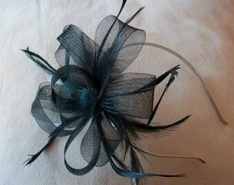 Black Fascinator Headband Black Feather fascinator Wedding Fascinator for Races fascinator evening Fascinator Kentucky derby Fascinator Hat
