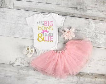 I like big bows and I cannot lie baby onepiece, available in sizes newborn, 6 months, 12 months, 18 months funny graphic baby onesie