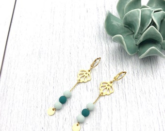 Mint green and gold floral earrings