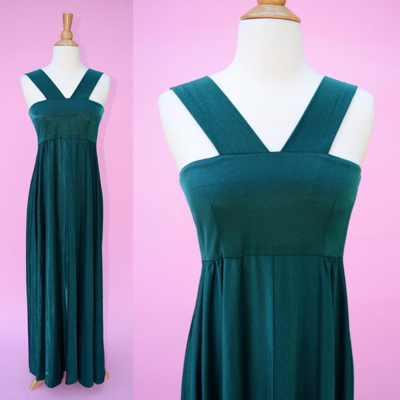 Hollywood Glamour 40s Vintage 70s Green Formal Gown //