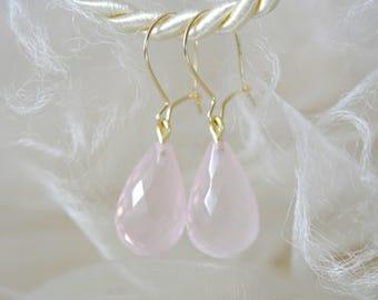 Solid Gold earrings gemstone Rose Quartz Pampeln 333 gold wires Earrings