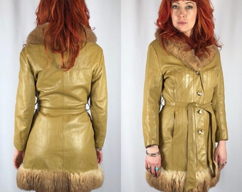 Vintage 1970's Leather Trimmed Jacket Small