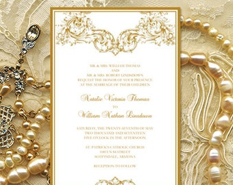 """Wedding Invitation Template """"Vienna"""" Gold Printable Word.doc Make Your Own Wedding Invitations Order Any Color DIY You Print"""