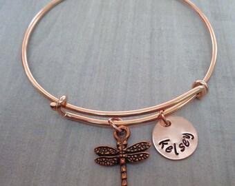 Rose Dragonfly Bangle Bracelet - Personalized Adjustable Bangle Bracelet- Names Initials - Bridesmaid Wedding Gift Rose Gold Dragonfly -B-23