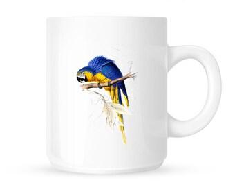 Blue and yellow maccaw mug