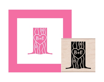 Carve Your Initials into a Tree Personalized  Rubber Stamp