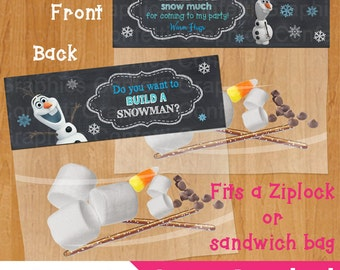 Do you want to build a snowman / Thank You Snow Much Frozen Bag Topper Olaf Party Favor Toppers Birthday Party Printable INSTANT DOWNLOAD