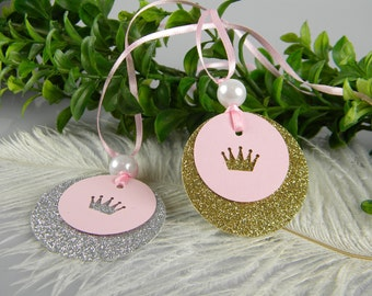 Princess Pink & Gold First Birthday Decoration baby Shower tags | Gold or Silver Crown Princess Party Gold Party Favor Hang Tags / 12 tags