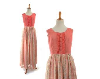 Boho 1960s Dress Maxi Hippie Bohemian Floral Flower Print Vintage Retro 60s 1970s 70s Ruffle Costume Orange Dress Peach Cotton Small Summer