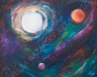 Giclee Art Print of Original Acrylic Space Painting View From Starbase 27, space art, outer space decor, planet stars art print