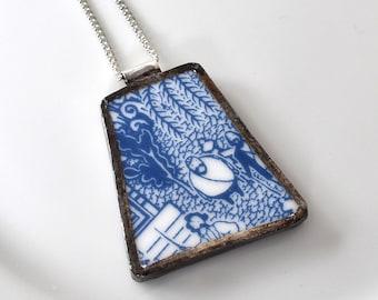 Broken China Jewelry Pendant - Calamityware Blue Pirate Ship
