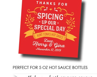 Hot sauce labels, hot sauce wedding favor labels, spicing up our special day, salsa labels, homemade salsa labels, hot sauce favor labels