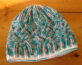 Variagated Green and Pink Cabled Crochet Winter Beanie Hat