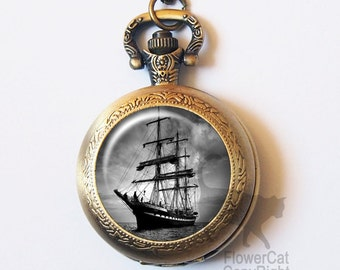 Vintage Fairy Tale Peter Pan Pirates Ship Pocket Watch Necklace, Nautical Sailor, Vintage Gold or Silver Pocket Watch