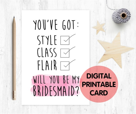 funny bridesmaid card printable will you be my bridesmaid funny card bridesmaid proposal