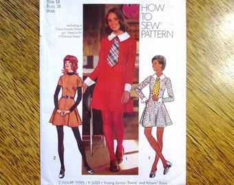 "FUNKY 1970s Princess Mini Dress w/ Detachable Peter Pan Collar & Cuffs - Size 16 (Bust 38"") - UNCUT Vintage Sewing Pattern Simplicity 5150"