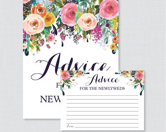 Advice for the Newlyweds Bridal Shower Activity - Printable Floral Bridal Shower Advice Cards and Sign - Shabby Chic Bridal Shower 0002-B