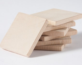 "20 pcs unfinished 1 3/4"" (4,5cm) Wood Squares for wood crafts, wooden supplies"