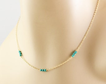 Turquoise Necklace, Minimal Necklace, Gold Turquoise Necklace