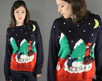 Vintage 1990's Christmas Knit Sweater Navy Blue Ice Skating Snow Man Kitsch Ugly Sweater
