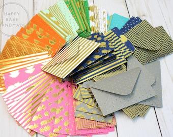 """3.5""""x2.25"""", 7 Mini Envelopes, Gold Foil Envelope, Small Envelope Gift Card Envelope, Coin Envelope, Scrapbooking Envelope, Place Card Holder"""