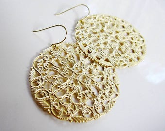 Gold Filigree Chandelier Hoop Earrings - Gold filigree Round Disc