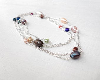 Long chain necklace freshwater pearl necklace wrap necklace chain women