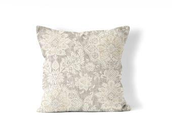 "tan pillow cover, farmhouse pillow cover,  throw pillow 18""x18"", 20""x20"", 22x22 or 24""x24"" tan and cream,beige, neutral colors, rustic decor"