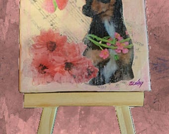 """Custom """"One of a Kind"""" Mini Collage on Canvas With Easel - 3"""" X 3"""""""
